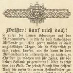 """""""Weißer! Kauf mich doch!"""". Postkarte KIndheit-Jesu-verein. Sammlung K. M. Kreis"""
