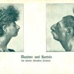 """""""Bertola und Maximo – die letzten lebenden Azteken"""". Im November 1901 in der Reichshalle am Westenhellweg in Dortmund. Postkarte Sammlung K.M. Kreis."""