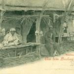 """""""Bischari-Lager"""" (bzw. """"Söhne der Wüste"""" oder """"Nubier""""), Handwerker und Artisten aus dem oberen Niltal gastierten im Dortmunder Fredenbaum im Juni 1899. Postkarte Sammlung K.M. Kreis."""