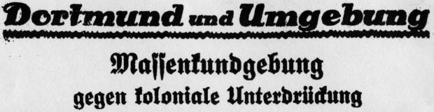 Ankündigung: Massenkundgebung gegen koloniale Unterdrückung, Westfälischer Kaempfer_24.08.1927