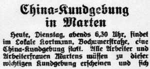 """China-Kundgebung in Dortmund-Marten. Ankündigung im """"Westfälischen Kämpfer"""" vom 10.05.1927."""