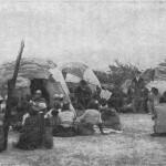 """""""Gottesdienst im Herero-Kriegsgefangenenlager"""". Abbildung aus August Kuhlmann: Auf Adlers Fluegeln, 1911"""