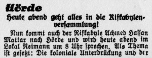 """Dortmund-Hörde: Kundgebung gegen koloniale Unterdrückung der Rifkabylen mit Achmed Hassan Mattar. """"Westfälischer Kämpfer"""" 03.09.1927."""