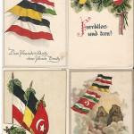 """Der Drei- bzw. Vierbund, bestehend aus Deutschland, Österreich, der Türkei und Bulgarien, wurde in unterschiedlichsten Medien """"gefeiert"""", vor allem auch auf Ansichtskarten. Die vier Ansichtskarten sind als Feldpost von Soldaten an die Angehörigen in der Heimat zwischen 1915 und 1917 versendet worden. Sammlung Detlev Brum."""
