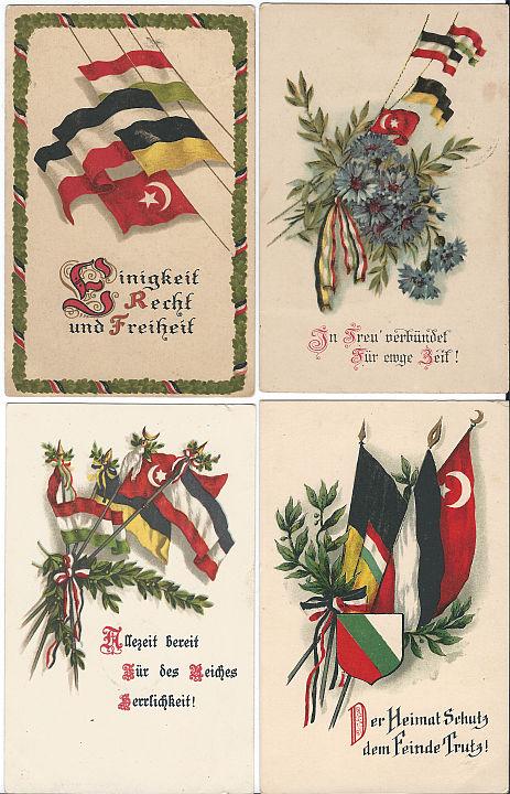 Auch diese vier Ansichtskarten zum deutsch-, österreichischen-, türkischen Dreibund liefen zwischen 1916 und 1917 als Feldpost, eine davon aus Russland nach Deutschland. Sammlung Detlev Brum.