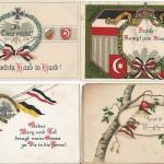 Ansichtskarten zum deutsch-, österreichischen-, türkischen Dreibund wurden nicht nur mit Kriegs- und Durchhalteparolen versendet, sondern auch zum Pfingstfest. Die vier Karten wurden 1916 und 1917 als Feldpost in die Heimat versendet. Sammlung Detlev Brum.