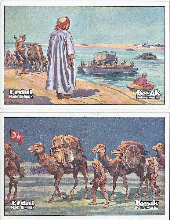 """Erdal-Kwak-Serienbilder. Oben: Serie 7, Bild 1: """"Weltkrieg und Türken in Bagdad"""". Unten: Serie 7, Bild 2: """"Weltkrieg und Suezkanal"""". Sammlung Detlev Brum. Bohnerwachs-Sammelbilder der 1920er und 30er Jahre waren Ausdruck der Erinnerungskultur, die etwa der Dortmunder Verein der ehemaligen Asien- und Orientkrieger bis 1939 pflegte, unter dessen Mitgliedern sich u.a. Teilnehmer des Krieges in Palästina und im Irak befanden."""