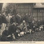 """""""Gefangenenlager Wahn bei Cöln 1914"""". """"Kriegshülfe""""-Verlag: F. C. Schulte, Cöln. Ansichtskarte, privat gelaufen im Februar 1915. Sammlung Detlev Brum."""