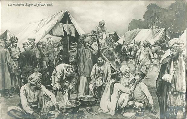 """""""Ein indisches Lager in Frankreich"""". Deutsche Ansichtskarte, ungelaufen. Sammlung Markus Kreis.  Keine Völkerschau á la Hagenbeck, sondern ein Lager indischer Truppen in Frankreich zu Beginn des Ersten Weltkriegs. Im Britischen Empire wurden insgesamt 2,8 Millionen Mann rekrutiert. Das größte Kontingent stellten die Inder mit 1,4 Millionen Soldaten und Hilfsarbeitern, davon etwa 150.000 (ca. 90.000 Soldaten) an der Westfront und ca. 700.000 (ca. 330.000 Soldaten) in Mesopotamien."""