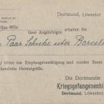 Kriegsgefangenensendung der Dortmunder Kriegsgefangenenhilfe, gelaufen von Dortmund am 21.2.1919.