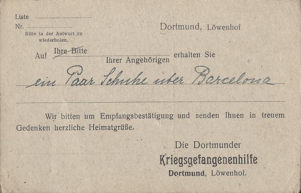 Kriegsgefangenensendung der Dortmunder Kriegsgefangenenhilfe, gelaufen am 21.2.1919. Sammlung Detlev Brum.