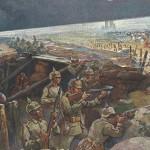 """""""Nachtangriff von Zuaven an der Lorettohöhe"""". Verlag Ottmar Zieher, München. Ansichtskarte, gelaufen als Feldpost (Bayer. 5. Reserve Division) im Januar 1915. Sammlung Detlev Brum. Afrikanische Einheiten wurden bevorzugt als Sturmtruppen eingesetzt. Aus der Tatsache, dass die Kolonialtruppen überall dort eingesetzt wurden, wo es besonders gefährlich war, leitet sich die """"Kanonenfutter-These"""" speziell in Bezug auf die westafrikanischen Soldaten ab. Die Lorettoschlacht bei Lens und Arras, war eine der für den Ersten Weltkrieg typischen verlustreichen wie ergebnislosen Schlachten."""