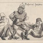 """""""Preferirei fossero nemici!"""" (Eher waren sie Feinde!). Italienische Ansichtskarte, gelaufen im September 1915 von Alessandria (Italien) nach Paris (Frankreich). Sammlung Detlev Brum."""