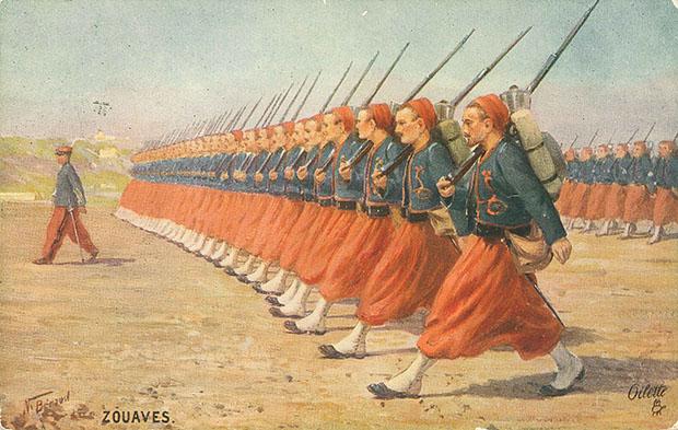 """""""The Zouaves. The European War 1914, The French Army, Series 1"""". Britische Ansichtskarte, gelaufen im März 1915 in der Schweiz. Sammlung Markus Kreis."""