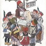 """""""Sympathiekundgebung"""". Kriegspostkarte Nr. 41, militäramtlich genehmigt, gelaufen als Feldpost von Vater an Sohn im Januar 1916. Sammlung Detlev Brum. Im Herbst 1914 startete in Deutschland eine Unterstützungskampagne zugunsten des türkischen Bündnispartners. Szenen, wie sie auf der Ansichtskarte abgebildet wurden, werden sich recht ähnlich auch im Dortmunder Fredenbaum (-Park) abgespielt haben, wenn das Rote Kreuz und andere """"patriotische"""" Verbände die Dortmunder Kinder zum Anlegen der Uniformen und anschließendem Umzug durch den Fredenbaum einluden. Ungefähr dort, wo heute die Eisverkäufer stehen, wurde im Sommer 1915 türkischer Honig verkauft zugunsten des """"Roten Halbmonds""""."""