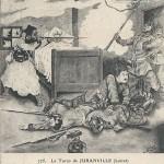 """""""Le Turco de Juranville (Loiret). Amed-Ben-Kacy, soldat de 3. Tirailleurs Algériens, qui, retranché dans cette maison, s'est defendu avec acharnement contre un grand nombre de Prussiens, et en a tue sept avant de succomber"""". Carte postale, gelaufen in März 1915 von Montargis nach Chinon. Sammlung Detlev Brum. Der gefallene Turco Amed Ben Kacy vom 3. algerischen Infanterie, der - 1870 - viele Preußen getötet hat. Die Ansichtskarte gehört zu den wenigen Zeugnissen, in denen afrikanische Soldaten im Einsatz auf europäischen Kriegsschauplätzen namentlich genannt werden."""
