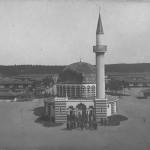 """Moschee im Weinbergslager Wünsdorf-Zossen. Stempelabdruck """"Küchenverwaltung Weinbergslager Wünsdorf"""". Ansichtskarte, gelaufen als Feldpost im Juni 1917 von Zossen nach Hechingen. Sammlung Detlev Brum."""
