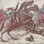 """""""Chasseurs d'Afrique"""", afrikanische Kavalleristen greifen deutschen Kavalleristen an. Carte Postale, beschriftet in französischer Sprache im April 1915. Sammlung Detlev Brum. Die """"Chasseurs d'Afrique"""" wurden 1832 als """"Eingeborenen""""-Kavallerie der französischen Armee in Algerien bzw. Marokko gegründet und nahmen an zahlreichen Kolonialkriegen, am deutsch-französischen Krieg 1870/71 und an verschiedenen Schauplätzen des Ersten Weltkriegs teil, u.a. erste Schlacht an der Marne, Schlacht an der Aisne und erste Flandernschlacht, später in Saloniki (Griechenland), Mazedonien, Albanien, Serbien und Ungarn."""