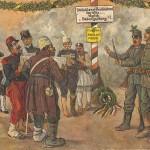 """Mit dem Dolch als Taktstock: """"Deutschland, Deutschland über alles. Täglich Gesangsübung"""". Gelbes Schild: 2. September 1914. Heute mit Musik. Ansichtskarte, ungelaufen. Sammlung Markus Kreis."""