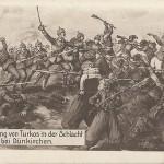 """""""Vernichtung von Turkos in der Schlacht von Dünkirchen"""". Ansichtskarte, ungelaufen. Sammlung Detlev Brum. Dunkerque (Dünkirchen) ist die nördlichste französische Hafenstadt an der Grenze zu Belgien und war im Ersten Weltkrieg Ziel deutscher Bombardements und Offensiven (1. Flandernschlacht). Auch hier spielt die Kriegsführung gegen nordafrikanische Truppen (häufig verallgemeinernd """"Turkos"""" genannt) eine wichtige Rolle; der Einsatz afrikanischer Truppen wurde als Rassenschande propagiert."""