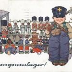"""""""Gefangenenlager!"""" Kriegspostkarte Nr. 62, gelaufen im April 1916 von einem Vater an seinen Sohn Carlchen. Sammlung Detlev Brum. Die Kriegspropaganda erreichte die Kinderzimmer, hier eine Aufstellung von Spielzeugfiguren mit afrikanischen und indischen Soldaten in der """"Kriegsgefangenenschaft""""."""