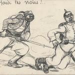 """""""Hardi les noirs!"""" Carte Postale, ungelaufen. Sammlung Detlev Brum. """"Kühn (mutig), die Schwarzen""""."""