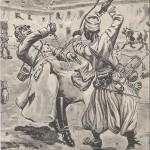 """""""Le clairon de Turcos Bel-Hadd-Hamed blesse et fait prisonnier le Général Freise prés de St-Ménéhould."""" Carte Postale, ungelaufen. Sammlung Detlev Brum. (Der Hornist der Turcos Bel-Hadd-Hamed verletzt General Freise in der Nähe von St. Ménéhould und nimmt ihn gefangen) General Freise war der ranghöchste deutsche Soldat, der von französischen Truppen gefangen genommen wurde. In der französischen Ansichtskarten-Propaganda gibt es auch eine Variante, nach der Freise von berittenen algerischen Goumiers gefangen genommen wurde. Neu an dieser Karte ist, dass hier ein individueller Soldat aus der anonymen Masse heraustritt."""