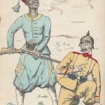 """""""Pitié! J'ai une femme et deux enfants. (Gnade! Ich habe eine Frau und zwei Kinder). Ça y a pas beaucoup, moi avoir quatre femmes et quinze enfants (Hier ist es nicht viel, ich habe vier Frauen und fünfzehn Kinder)."""" Carte Postale, beschriftet im Mai 1915. Sammlung Detlev Brum. Ein interkulturelles Mißverständnis, über das man im weißen Frankreich des Jahres 1915 herzlich gelacht haben wird. Genauer gesagt: Man wird über die Aussage des Afrikaners gelacht haben, weil er, so glaubte man, keine Gnade kennt bzw. noch nicht einmal die Fragestellung versteht. Man wird den Deutschen ob der so absurd anmutenden Umkehrung der kolonialen Verhältnisse ausgelacht haben."""