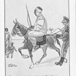 """""""Représentations. The captured beast. Ti vois, ça y à assassin – voleur et """"Brissiène"""". """" Carte Postale, ungelaufen. Sammlung Detlev Brum. Der nordafrikanische Soldat, auf einem Maultier hockend und daher mehr als Maultiertreiber denn als Soldat kenntlich gemacht, führt seiner Familie (?) vor der Kulisse einer Pyramide einen deutschen Kriegsgefangenen vor. """"Das gefangene Tier. Du siehst, das ist ein Mörder - Dieb und """"Brissiène"""""""", letzteres ist nicht übersetzbar und könnte eine Verballhornung des französischen Wortes für """"Preusse"""" darstellen. In dieser Ansichtskarte ist sowohl eine Abwertung des Kriegsgefangenen als auch des Afrikaners enthalten."""