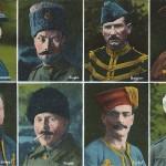 """""""Unsere Feinde"""". Serie: Kriegsgefangene. Nr. 27. Behördlich genehmigt. Ansichtskarte, ungelaufen. Sammlung Detlev Brum. Eine von diversen Ansichtskarten mit Portraits der Kriegsgefangenen. Von allen acht Portraits wurden auch Einzel-Ansichtskarten herausgegeben. Die Portraits sind nicht überzeichnet, allerdings ist es kein Zufall, dass die vier Mitteleuropäer oben gruppiert wurden."""