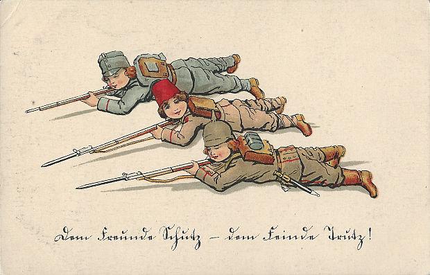 """""""Dem Freunde Schutz - dem Feinde Trutz!"""" Ansichtskarte, gelaufen als Feldpost im Januar 1916. Sammlung Detlev Brum. Die deutsch-türkische Waffenbrüderschaft wird in etlichen Ansichtskarten """"gefeiert""""."""