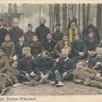 """""""Gefangenenlager Zossen-Wünsdorf"""". Wilhelm Puder, Kunstanstalt, Berlin. Ansichtskarte, gelaufen als Feldpost im August 1917 (Stempel """"Batl. Genesungsheim Wünsdorf, I. Kompagnie""""). Sammlung Detlev Brum."""