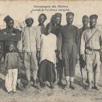 """""""Pfingstgrüße aus Marokko"""". Campagne du Maroc. Groupe de Tirailleurs sénégalais. Carte Postale, gelaufen im Mai 1916 von einem deutschen Kriegsgefangenen aus Marokko nach Bingen (Stempel der französischen Zensur). Sammlung Detlev Brum."""