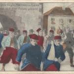 """""""Gefangene Belgier, Franzosen und Zuaven werden nach einer Festung gebracht"""". Kriegs-Postkarte, gelaufen im Februar 1915 aus Frankreich nach Deutschland als Feldpost. Sammlung Detlev Brum. In deutschen Ansichtskarten mit Gefangenentransporten werden häufig nordafrikanische Soldaten neben anderen Soldaten abgebildet."""