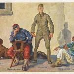 """""""Die 4 Temperamente"""". Ansichtskarte (Nr. 1447, miitäramtlich genehmigt), sign. H. Bertle, ungelaufen. Sammlung Detlev Brum. Hans Bertle war ein bekannter Maler aus Österreich. Die Ansichtskarte zeigt neben den drei Kriegsparteien Rußland, Frankreich und Großbritannien auch einen afrikanischen Soldaten, der zwar nicht für einen kriegsführenden Staat steht, wohl aber der hohen Anzahl afrikanischer Soldaten an der Westfront entspricht. Unter Heranziehung der zeitgenössischen Temperamentenlehre, die man heute als unsinnig abtun würde, wird hier dem afrikanischen Soldaten das """"Temperament"""" des """"Sanguinikers"""" zugeschrieben. Im """"Rassekrieg"""", wie der Kampf gegen afrikanische Soldaten an der Westfront propagandistisch genannt wurde, werden Afrikanern die scheinbar typischen Sanguiniker-Merkmale """"heiter"""" und """"wild"""" (= unbeständig, unbesonnen, mit wenig Skrupel und Neigung zu brutalen Exzessen in Kampfsituationen) zugeschrieben."""