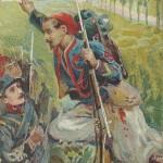 """""""Actes heroiques"""". Zuaven-Sergeant warnt vor einem feindlichen Hinterhalt. Französische Ansichtskarte, ungelaufen. Sammlung Detlev Brum."""