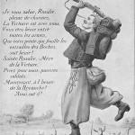 Guerre Européenne 1914-1915. Edition Patriotique. Ansichtskarte, ungelaufen. Sammlung Detlev Brum. An der Westfront: Nordafrikanischer Soldat und flüchtende deutsche Soldaten.