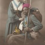"""""""Hymne á la France. Tes Fils ont dans la coupe amere. Trauve le baume á tes douleurs"""". Carte Postale, gelaufen im April 1915. Sammlung Detlev Brum."""