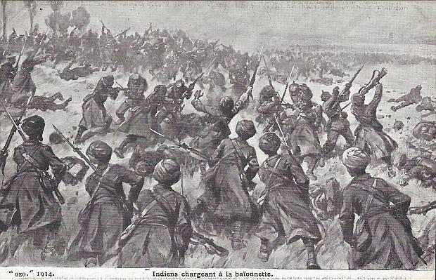 """""""Indiens chargeant à la Baionnette"""", """"GEO 1914"""" (Inder laden das Bajonett). Carte Postale, ungelaufen. Sammlung Detlev Brum."""