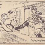 """""""Japanisches Ultimatum - Deutschlands Antwort"""". Feldpostkarte, ungelaufen. Sammlung Detlev Brum."""