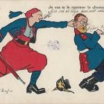 """""""Je vas te le montrer le chemin de Paris"""" (""""Ich dir zeige den Weg nach Paris""""). Carte postale, gelaufen, ohne Datum. Sammlung Detlev Brum."""