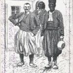"""""""Kriegsgefangene in Wahn b. Köln. Franz. Kolonialtruppen a. Afrika"""". Ansichtskarte (sign. """"E. Brüncker K. 1914"""", """"Kriegshülfe"""" Verlag: F. C. Schulte, Cöln), gelaufen im Dezember 1914. Hinweis auf der Rückseite: """"33 1/3 der Einnahme der """"Kriegshülfe"""" werden zu wohltätigen Zwecken an das Rote Kreuz, die Kriegsspende, etc. abgeführt"""". Sammlung Detlev Brum. Motive von Brüncker (glorifizierende Darstellungen des Kaisers und der deutschen Generalität) wurden für verschiedene Ansichtskarten auch des """"Kriegshülfe""""-Verlags verwendet. Die Zeichnung der afrikanischen Kriegsgefangenen aus dem Durchgangslager Wahn ist darunter eine Ausnahme, in der sich wohl auch eine gewisse exotische Faszination niedergeschlagen hat."""