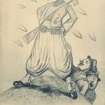 """""""Moi ... pas peur! Balles pas trouer peau noire. La bravoure du Turco"""" (Ich ... keine Angst! Kugeln nicht löchern schwarze Haut. Die Tapferkeit der Nordafrikaner). Carte Postale, ungelaufen. Sammlung Detlev Brum. Wie auch bei anderen Ansichtskarten aus französischer Produktion wird Afrikanern ein """"schlechtes"""" Französisch in den Mund gelegt. Zwar sprachen viele westafrikanische Soldaten zunächst kein französisch, hier aber wird über die Sprache und Gestik die Tapferkeit zur """"rassisch"""" bedingten Limitiertheit umdefiniert. Eine Ansichtskarte, die die kolonialrassistischen Vorurteile bestätigt."""