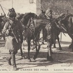 """Guerre 1914 L'Armée des Indes. Lanciers Hindous"" (Hindu Lanzenreiter). Carte Postale, gelaufen im Januar 1915 von Marseille. Sammlung Detlev Brum."