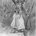 """""""Le Clairon"""". Doppelseitige Ansichtskarte mit Gedicht """"Le Clairon"""" von Paul Dérouléde (1915). Sammlung Detlev Brum. Der Hornist der Zuaven bläst bzw. fordert zum Angriff heraus."""