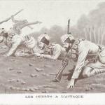 """""""Les Indiens à l'Attaque"""" (Die Inder greifen an). Carte Postale, beschriftet im Juli 1915. Sammlung Detlev Brum."""