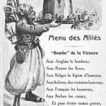 """""""Menu des Alliés. """"Bombe"""" de la Victoire"""". Carte Postale, ungelaufen. Sammlung Detlev Brum. Der nordafrikanische Soldat serviert den Deutschen an der Marne die """"Bombe"""" der Alliierten; an der Marne wurde im großen Umfang koloniale Truppen eingesetzt."""