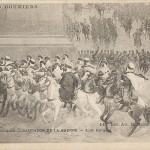 """""""Pantheon de la Guerre. Les Goumiers"""". Carte Postale, ungelaufen. Sammlung Detlev Brum. Abordnungen der nordafrikanischen Kavallerie nahmen an Siegesparaden am bzw. durch den Arc de Triomphe teil."""