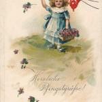 """""""Herzliche Pfingstgrüße"""". Ansichtskarte, beschriftet, ohne Datum. Sammlung Detlev Brum."""