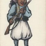 """""""Turco"""". Carte Postale, ungelaufen. Sammlung Detlev Brum. In Frankreich wie in Deutschland waren Ansichtskarten mit Kindern in Uniform sehr beliebt, in Frankreich die """"schwarzen"""" Kinder, in Deutschland die Darstellungen von """"türkischen"""" Kindern."""